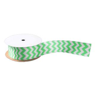 Lime Green and White Modern Chevron Satin Ribbon
