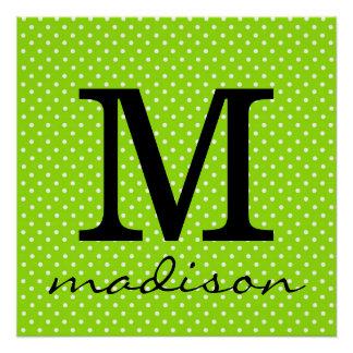 Lime Green and White Polka Dot Monogram Print
