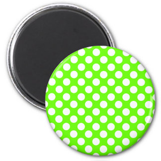 Lime Green and White Polka Dots 2 Inch Round Magnet