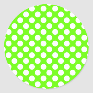 Lime Green and White Polka Dots Classic Round Sticker