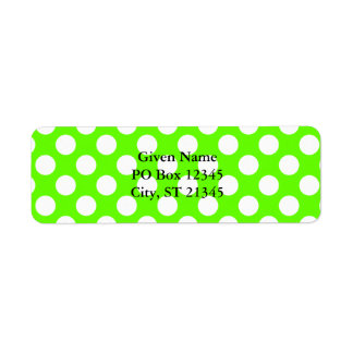 Lime Green and White Polka Dots Label