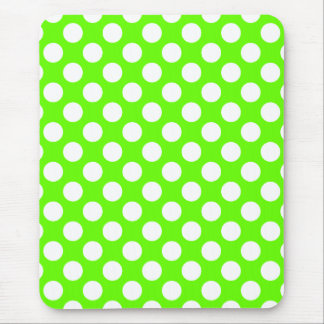 Lime Green and White Polka Dots Mouse Pad
