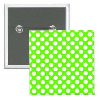 Lime Green and White Polka Dots Pinback Button
