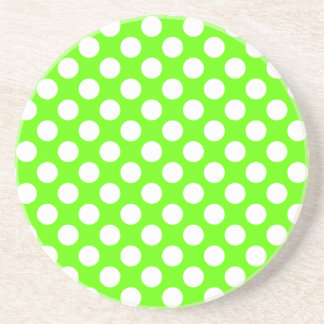 Lime Green and White Polka Dots Sandstone Coaster