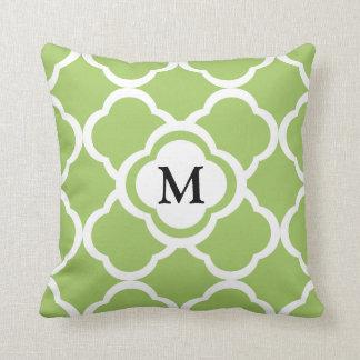 Lime Green And White Quatrefoil Custom Monogram Throw Pillow