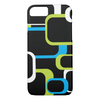 Lime Green and White Retro Squares Black iPhone 7 Case