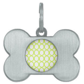 Lime Green and White Splash of O's Pet Tag