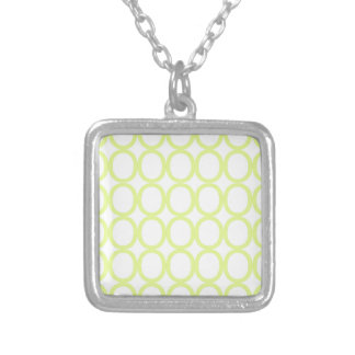 Lime Green and White Splash of O's Silver Plated Necklace