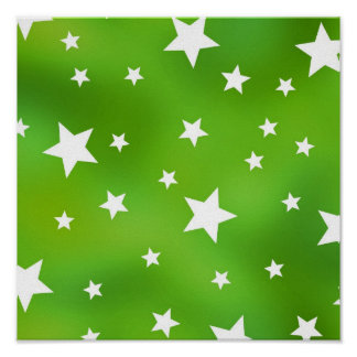 Lime Green and White Star Pattern Poster