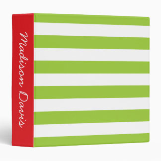 Lime Green and White Stripe Red Personalized Binder