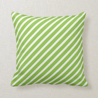 Lime Green and White Striped Pillow