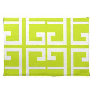 Lime Green and White Tile Cloth Placemat