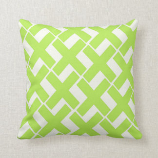 Lime Green and White Xs Throw Pillow