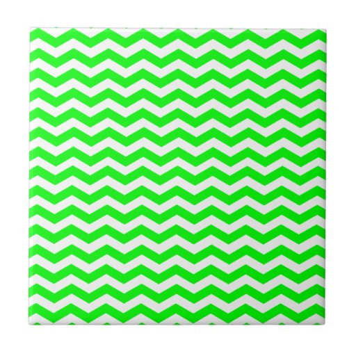 Lime Green And White Zigzag Chevron Pattern Tile