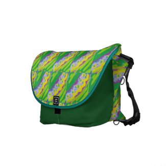 Lime Green and Yellow Stripe Medium Messenger Bag