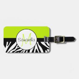 Lime Green and Zebra Animal Print Custom Monogram Bag Tag