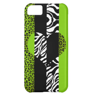 Lime Green and Zebra Animal Print Heart Case For iPhone 5C