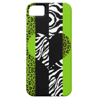 Lime Green and Zebra Animal Print Heart iPhone SE/5/5s Case