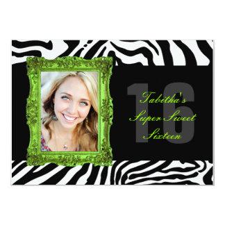 Lime Green and Zebra   Sweet Sixteen Invitation