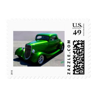 Lime Green Antique Car Stamps