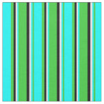 [ Thumbnail: Lime Green, Aqua, Lavender & Black Colored Lines Fabric ]