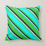 [ Thumbnail: Lime Green, Aqua, Lavender & Black Colored Lines Throw Pillow ]