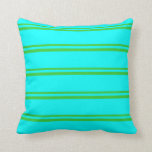 [ Thumbnail: Lime Green & Aqua Lines/Stripes Pattern Pillow ]