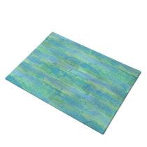 Lime Green Aqua Turquoise Blue Watercolor Stripes Doormat