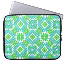 Lime Green Aqua Turquoise Retro Fantasy Pattern Laptop Sleeve
