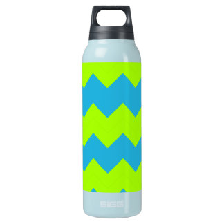 Lime Green, Aqua Zig Zag Insulated Water Bottle
