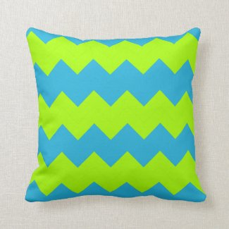 Lime Green, Aqua Zig Zag Throw Pillow