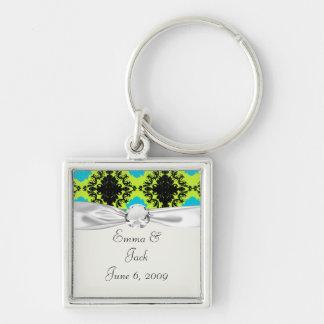 lime green aquamarine blue black diamond damask keychain
