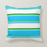 [ Thumbnail: Lime Green, Aquamarine, Blue, White & Dark Green Throw Pillow ]