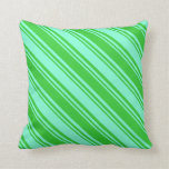 [ Thumbnail: Lime Green & Aquamarine Colored Lined Pattern Throw Pillow ]