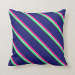 [ Thumbnail: Lime Green, Aquamarine, Deep Pink & Midnight Blue Throw Pillow ]