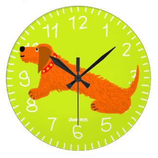Lime Green Art Clock: John Dyer Sausage Dog Design Large Clock