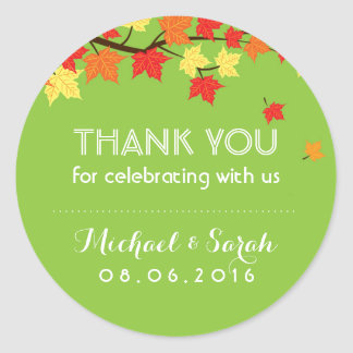 Lime Green Autumn Maple Leaves Thank You Sticker