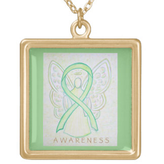 Lime Green Awareness Ribbon Angel Jewelry Necklace