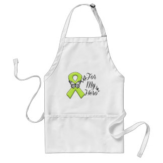 Lime Green Awareness Ribbon For My Hero Adult Apron
