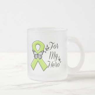 Lime Green Awareness Ribbon For My Hero Frosted Glass Coffee Mug