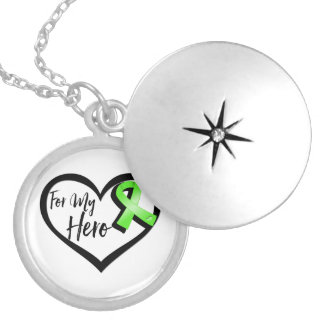 Lime Green Awareness Ribbon For My Hero Round Locket Necklace