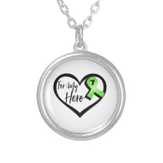 Lime Green Awareness Ribbon For My Hero Round Pendant Necklace