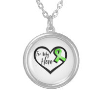 Lime Green Awareness Ribbon For My Hero Silver Plated Necklace