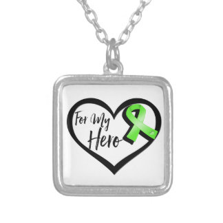 Lime Green Awareness Ribbon For My Hero Square Pendant Necklace