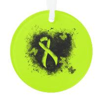 Lime Green Awareness Ribbon Grunge Heart Ornament