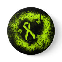 Lime Green Awareness Ribbon Grunge Heart Pinback Button