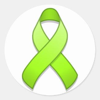 Lime Green Awareness Ribbon Round Sticker
