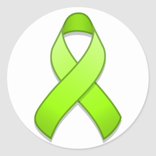 Lime Green Awareness Ribbon Round Sticker
