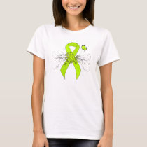 Lime Green Awareness Ribbon with Butterfly T-Shirt