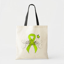 Lime Green Awareness Ribbon with Butterfly Tote Bag